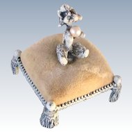 Pincushion Poodle With Pearl Vintage Signed