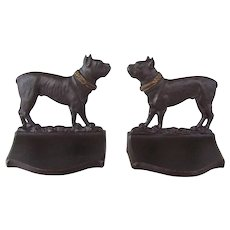 Bradley & Hubbard Cast Iron Boston Terrier Dog Bookends