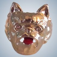 Vintage Gumball Machine Prize Ring French Bulldog