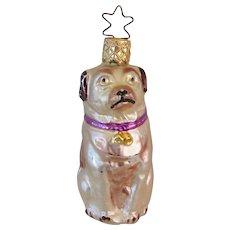 Vintage Old World Christmas Glass Pug Dog Ornament