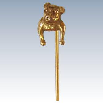 Antique Gold Filled Bulldog Dog Stickpin w/Keeper