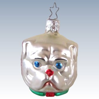 Retired Old World Glass Three Faces Ornament w/Pug Dog