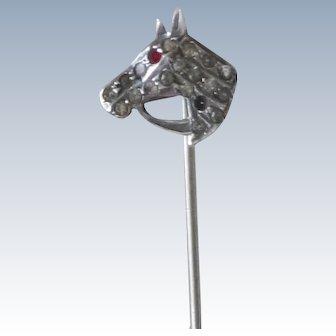 Sterling Silver Antique Horse & Bridle Stickpin