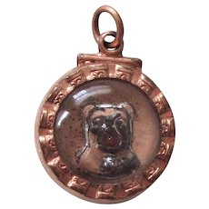 Rare Intaglio Carved Pug/Bulldog Watch Fob Antique