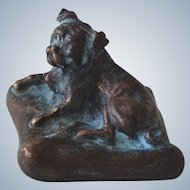 Vintage Solid Bronze Pug Dog Resting On Pillow