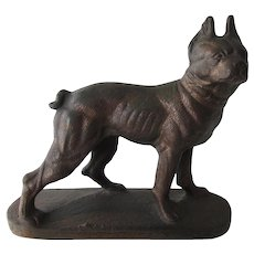 Cast Iron Boston Terrier Dog Bookend Or Nursery Doorstop Vintage