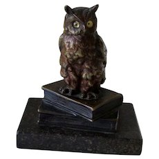 Antique Lost Wax Bronze Owl on Books and Marble