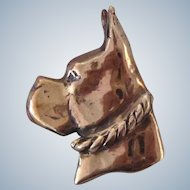 Solid Bronze Boxer Dog Brooch/Pin Vintage