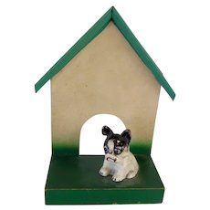 Rare Paperweight Cast Iron French Bulldog In Doghouse