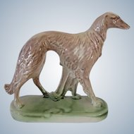 Deco Borzoi Dog Statue On Base Vintage
