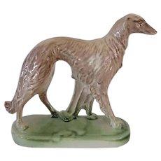 Deco Borzoi Dog Statue On Base Vintage