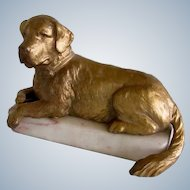 Antique Gold Gilt On Marble St. Bernard Dog France