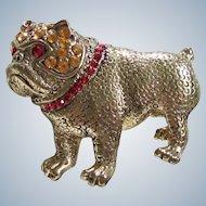 Rhinestone Goldtone Vintage Bulldog Dog Brooch/Pin