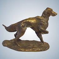 Outstanding  Signed Solid Bronze Irish Setter Dog Vintage