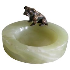 Antique Bronze And Marble Bulldog Dog Pintray