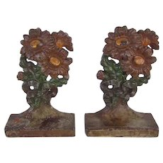 Rare Hubley Cast Iron painted Flower Bookends Nursery Size