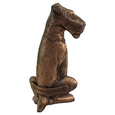 Souvenir Brass Paperweight Fox Terrier/Airedale Dog Vintage