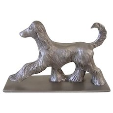 Solid Pewter Signed Afghan Hound Dog 1978 Vintage