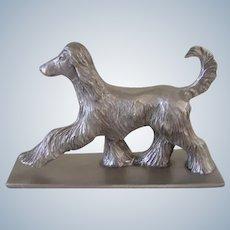 Solid Pewter Signed Afghan Hound Dog 1978 Vintage
