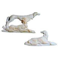 Antique Pair Carved Bone Saluki Dogs