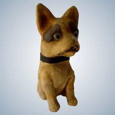 Antique Mache & Felt Squeek Toy Boston Terrier Dog