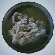 Antique French Enamel And Porcelain Pin Dish w/Cherubs Signed