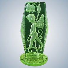 Vintage Czech Glass Intaglio Crystal Fairy