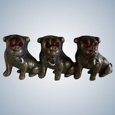 Antique Victorian Three Pugs/Bulldogs Brass Pin