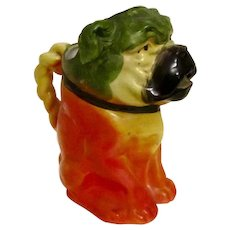 Majolica Pitcher Bulldog/Pug Dog Antique