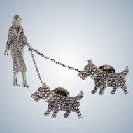 Pewter & Rhinestone Chatelaine Woman And Scotties Dog Pin Vintage