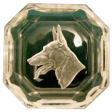 Intaglio Crystal Salt Cellar German Shepherd Dog Vintage