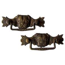 Vintage Bronze Pug Dog Drawer Pulls