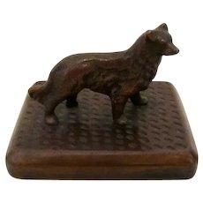 Solid Bronze Collie/Shellie Dog On Plinth Vintage
