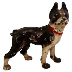 Hubley Cast Iron Boston Terrier Dog Paperweight Vintage