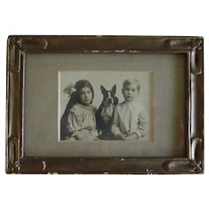 Framed Antique Photograph Boston Terrier Dog w/Children