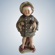 Antique Sailor Boy Heubach With Pug Dogs Bisque Doll Statue 11 Inches