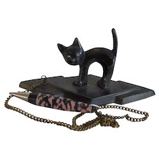 Vintage Black Cat Figural Bridge Pencil Set