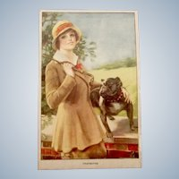 Signed Glamour Dog Fashion Antique Postcard English Bulldog