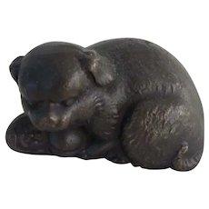 Bronze Signed Tiffany Studios Pug Dog w/Pup Vintage
