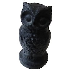 Cast Iron Owl Paperweight Vintage