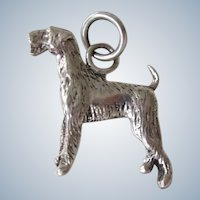Vintage Signed Sterling Silver Airedale Terrier Dog Charm/Pendant