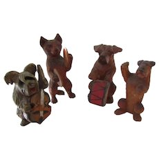 Hand Carved Wood Band Dogs And Cat Vintage