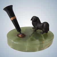 Bronze Pekingese Dog On Marble Pen Holder Antique