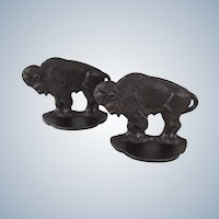 Vintage Cast Iron Buffalo Bookends