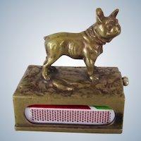 Super Rare Cigar Cutter Austrian Bronze French Bulldog Dog Match Holder