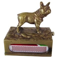 Super Rare Cigar Cutter Austrian Bronze French Bulldog Dog Match Holder