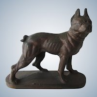 Cast Iron Boston Terrier Dog Bookend Or Nursery Doorstop Vintage