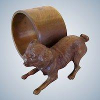 Signed Austrian Bronze Pug Dog Napkin Ring Vintage