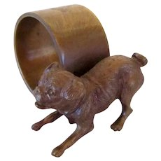 Signed Austrian Bronze Pug Dog Napkin Ring Vintage