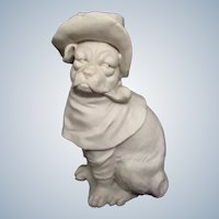 Antique Bisque Pug Dog Wearing Hat Smoking Pipe